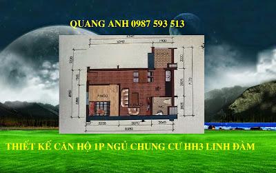 Thiết kế 1 phòng ngủ chung cư hh3 linh đàm
