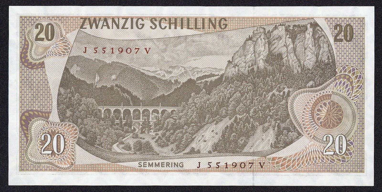 Austria Money Currency 20 Schilling banknote 1967 Semmering railway