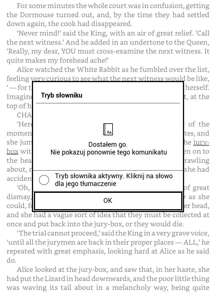 PocketBook Basic Lux 2 – komunikat pojawiający się po uruchomieniu słownika