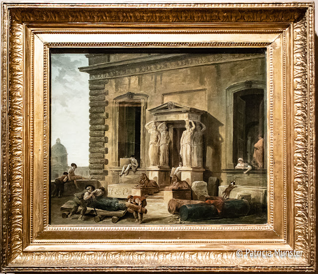 Hubert Robert - Palace entrance with a portico and Caryatides