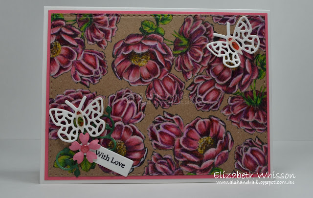 Elizabeth Whisson, Alshandra, Our Daily Bread Designs, Fragrance, prismacolor pencils, flowers, butterflies, with love, double stitched rectangles, bitty butterflies, lovely leaves, mini tags and labels, mini tag sentiments, handmade card