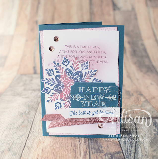 New Years Card, Frosted Medallions, Fancy Frost Designer Series Paper, Stampin' Up!, Papercraft by Jennifer Frost