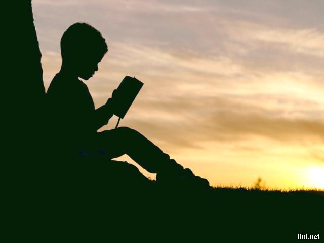 ảnh cậu bé ngồi đọc sách trong chiều hoàng hôn