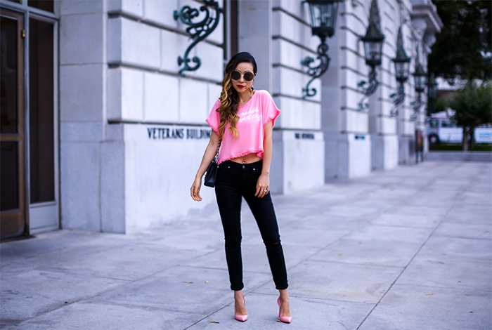 7FAM Bair Denim, 7FAM bair skinny jeans, christian louboutin so kate pumps, chloe sunglasses, baublebar earrings, wildfox crop tee, wildfox tee, wildfox mermaids never cry tee, pink outfit, san francisco street style