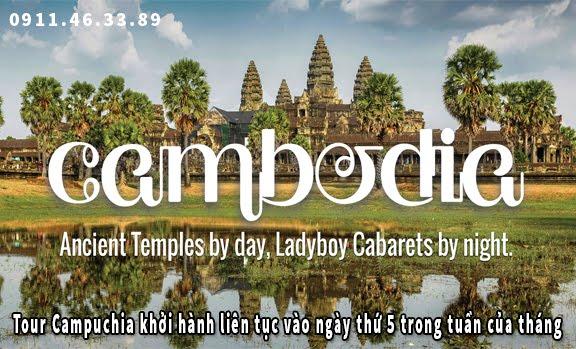 Tour Campuchia khởi hành liên tục vào ngày thứ 5 trong tuần của tháng 9