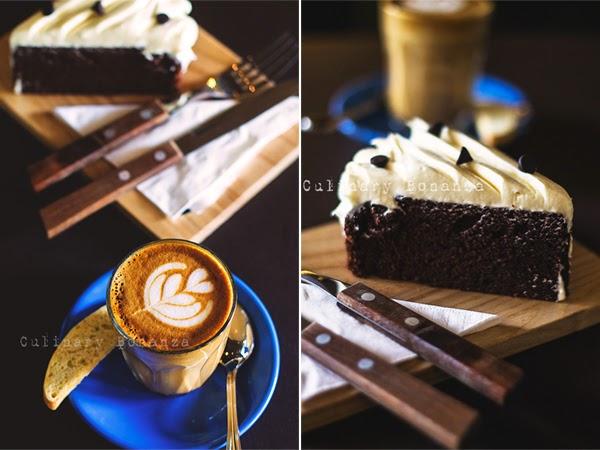 Left: Piccolo Latte Right: Guinness Beer Cake (slice)