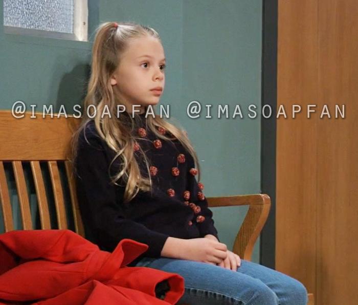 Charlotte Cassadine, Scarlett Fernandez, Navy Blue Sweater with Multicolored Pompoms, General Hospital, GH