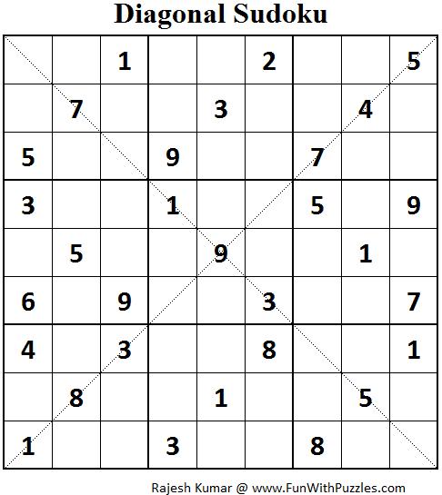 Diagonal Sudoku (Fun With Sudoku #62)