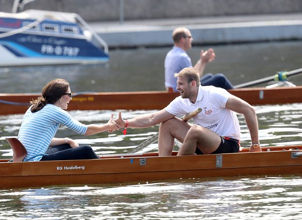 Duchess Catherine of Cambridge participated in a rowing race between the twinned town of Cambridge and Heidelberg and against Prince William, Duke of Cambridge