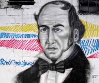 Imagen del mural de Simón Rodríguez en pared