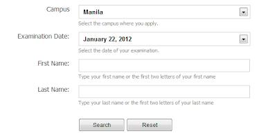 TUP Entrance exam result 2012 2013