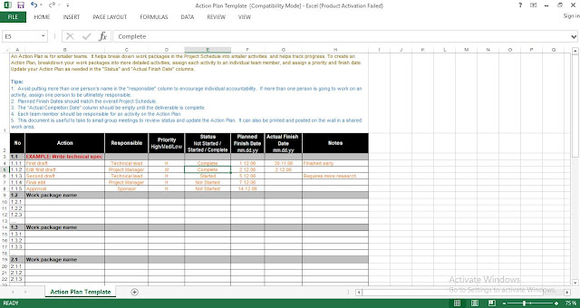 Download Action Plan Template for Excel