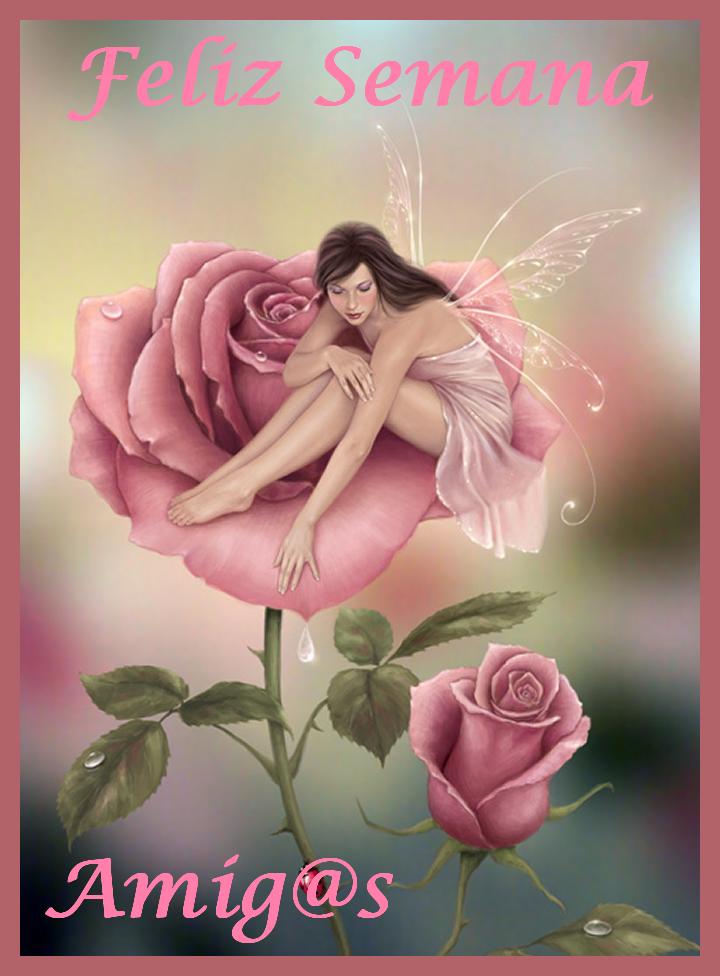 hada sobre rosa Feliz Semana