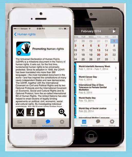 image shows iPhone with two views of the calendar - text about human rights and a calendar page