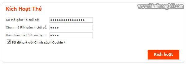 Hình 2: Điền đầy đủ thông tin thẻ MasterCard để kích hoạt thẻ