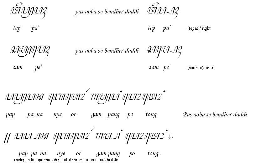 Bahasa madura dengan aksara jawa atau carakan madura memang sudah jarang, dan bahkan tidak digunakan lagi sebagai bagian mata ajar bahasa madura di. Carakan Madura: Mei 2014