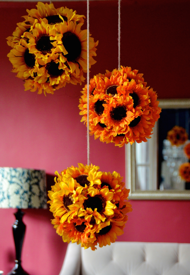 Diy hanging sunflower pendants sunflower kissing balls always diy hanging sunflower pendants sunflower kissing balls mightylinksfo