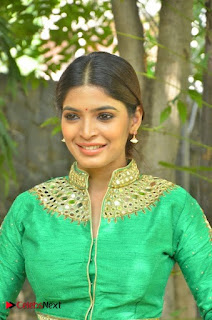 Sanchita Shetty in Green Choli and Silky SKirt at Okkadochadu Audio Launch