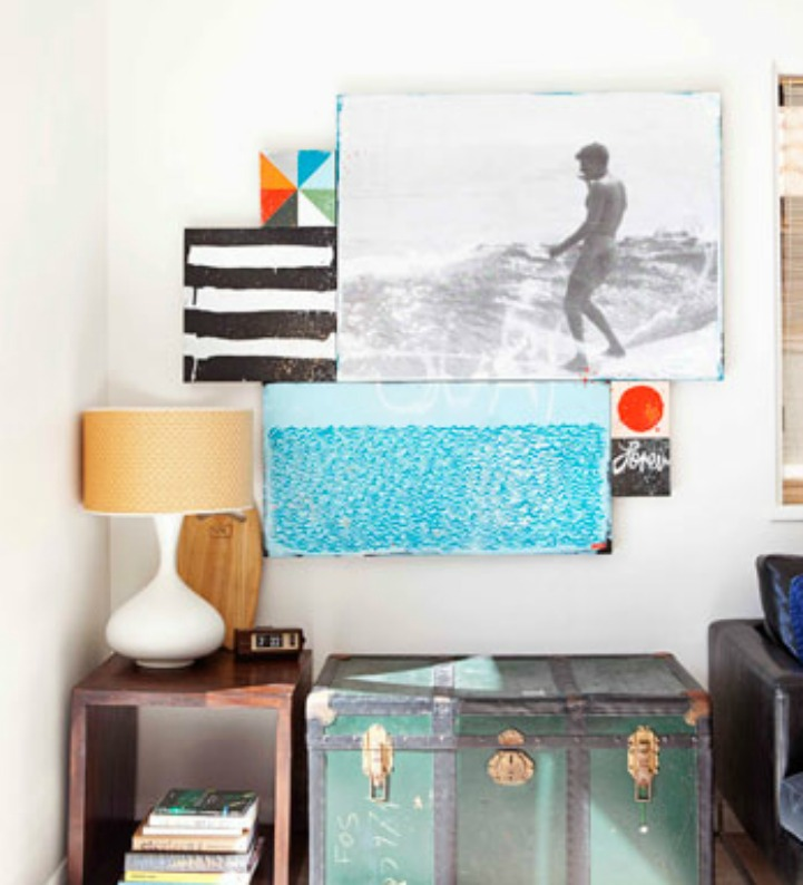 Coastal beach house with surf style artwork