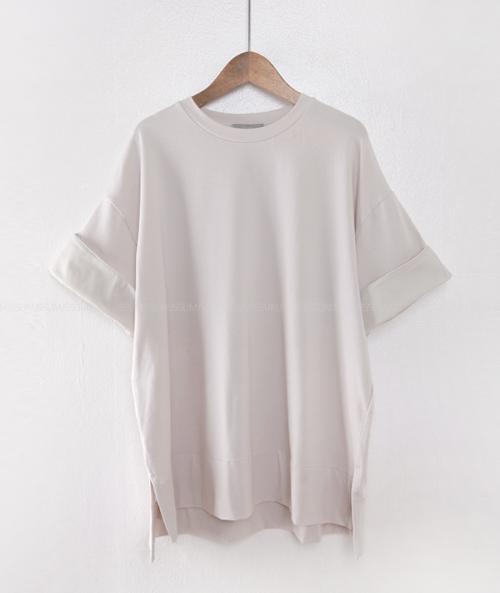 Cuffed Half Sleeve High-Low Hem T-Shirt