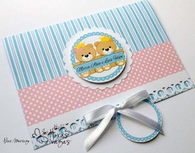 convite artesanal aniversário infantil casal gêmeos ursinho azul rosa bebê 1 aninho