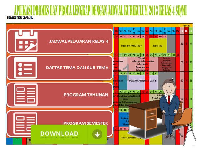 Aplikasi Prota Promes Kurikulum 2013 Kelas 4 Format Excel