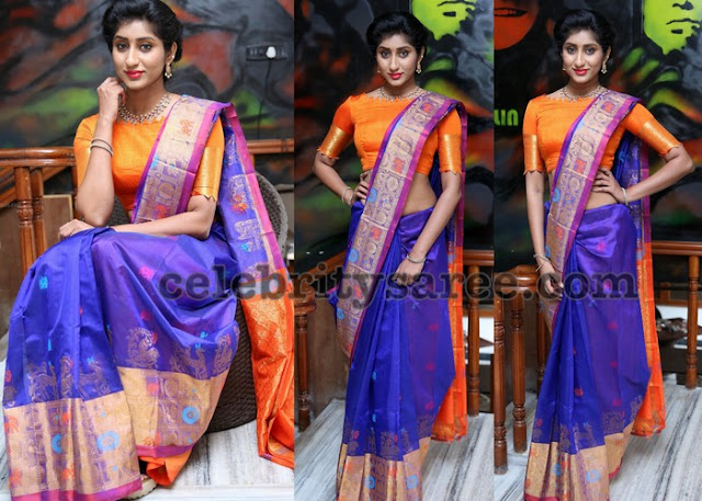 Sravani Blue and Orange Silk Sari