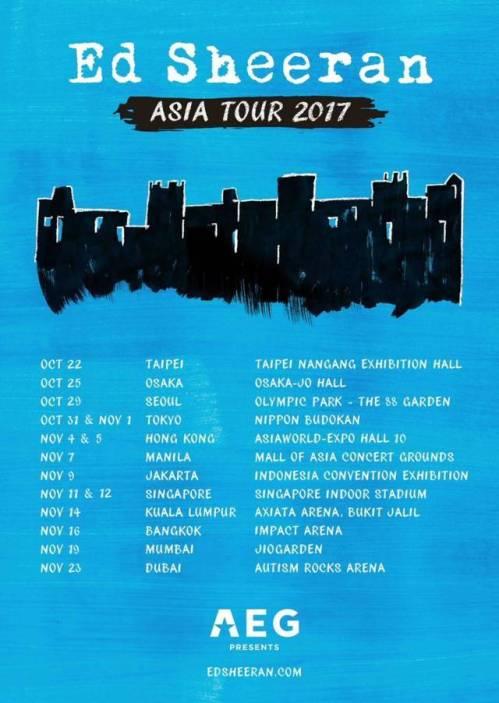 Konser Ed Sheeran Asia Tour 2017 - Di Indonesia November 2017