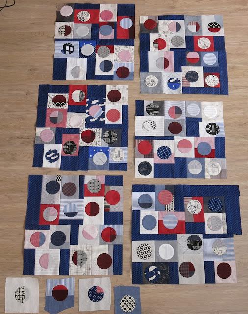 Quilty 365 - Hand applique circles - Improv' piecing in progress