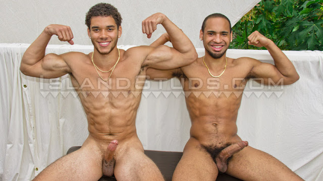 Island Studs - Hung Cousins Terrance & Tremaine are Back!: Afro American College Jocks In HOT Jerk Off DUO Action!