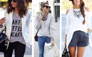Exemplos de looks de colares statement com básicos. Com t-shirt cinza e blazer branco, com camisola de malha bege, com blusa branca e calções cinza.