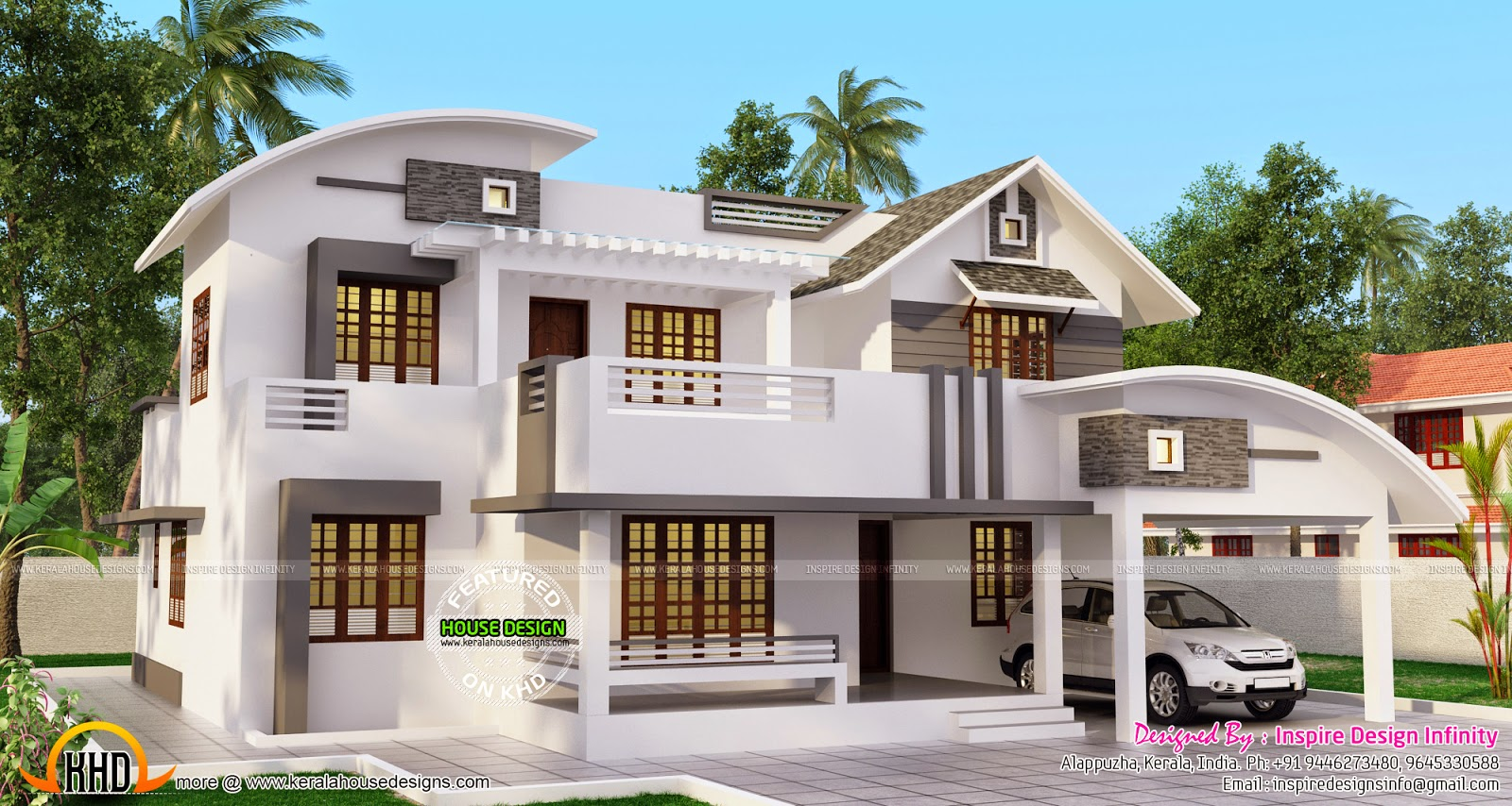 Double storied modern home kerala home design and floor for Contemporary style home plans