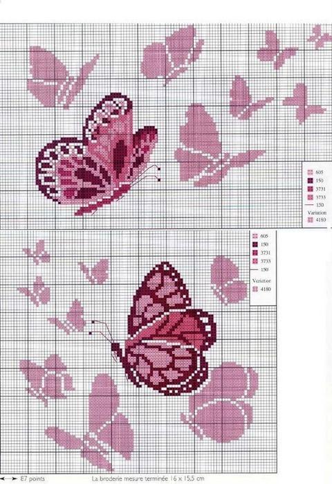 Punto De Cruz Mariposas Rosas-8637