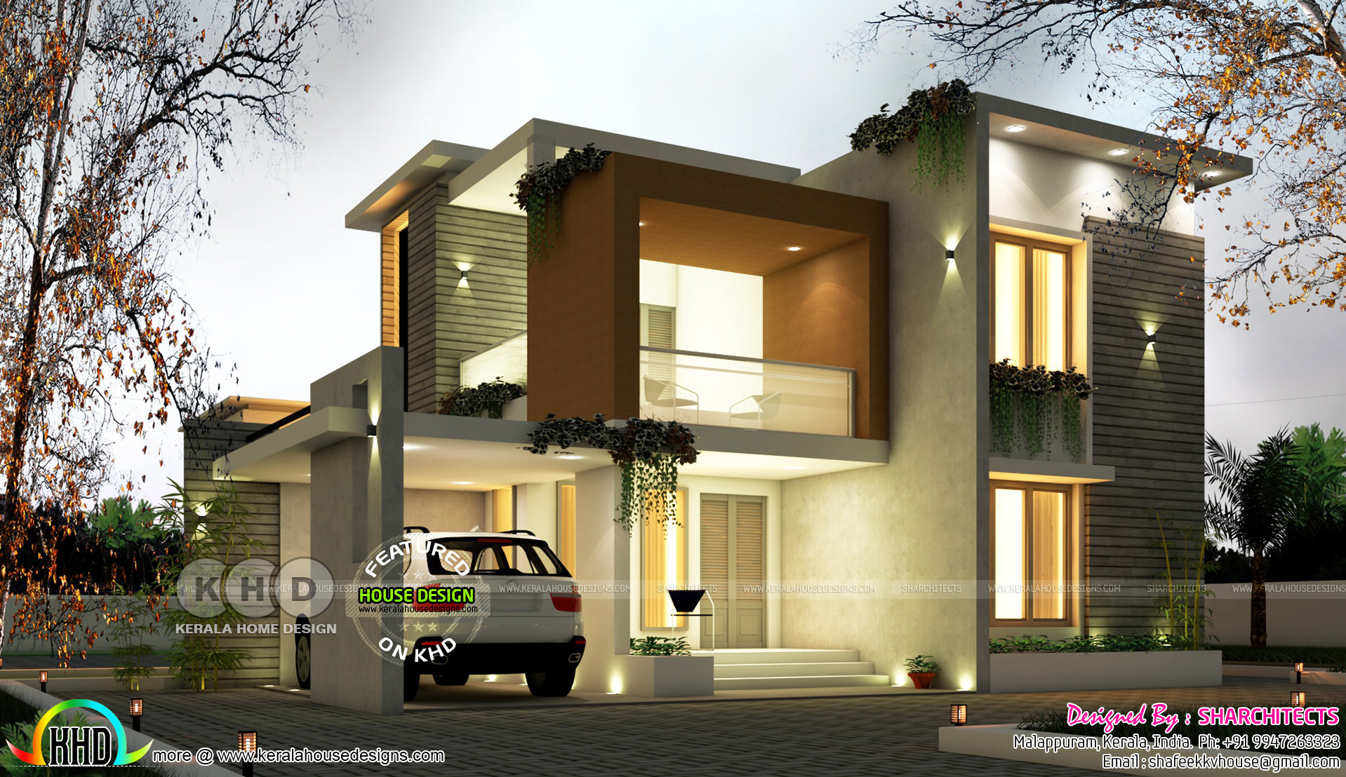 Modern Contemporary Box Model House 2500 Square Feet Kerala Home Design And Floor Plans
