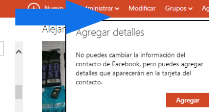 modificar informacion de un contacto en correo Outlook