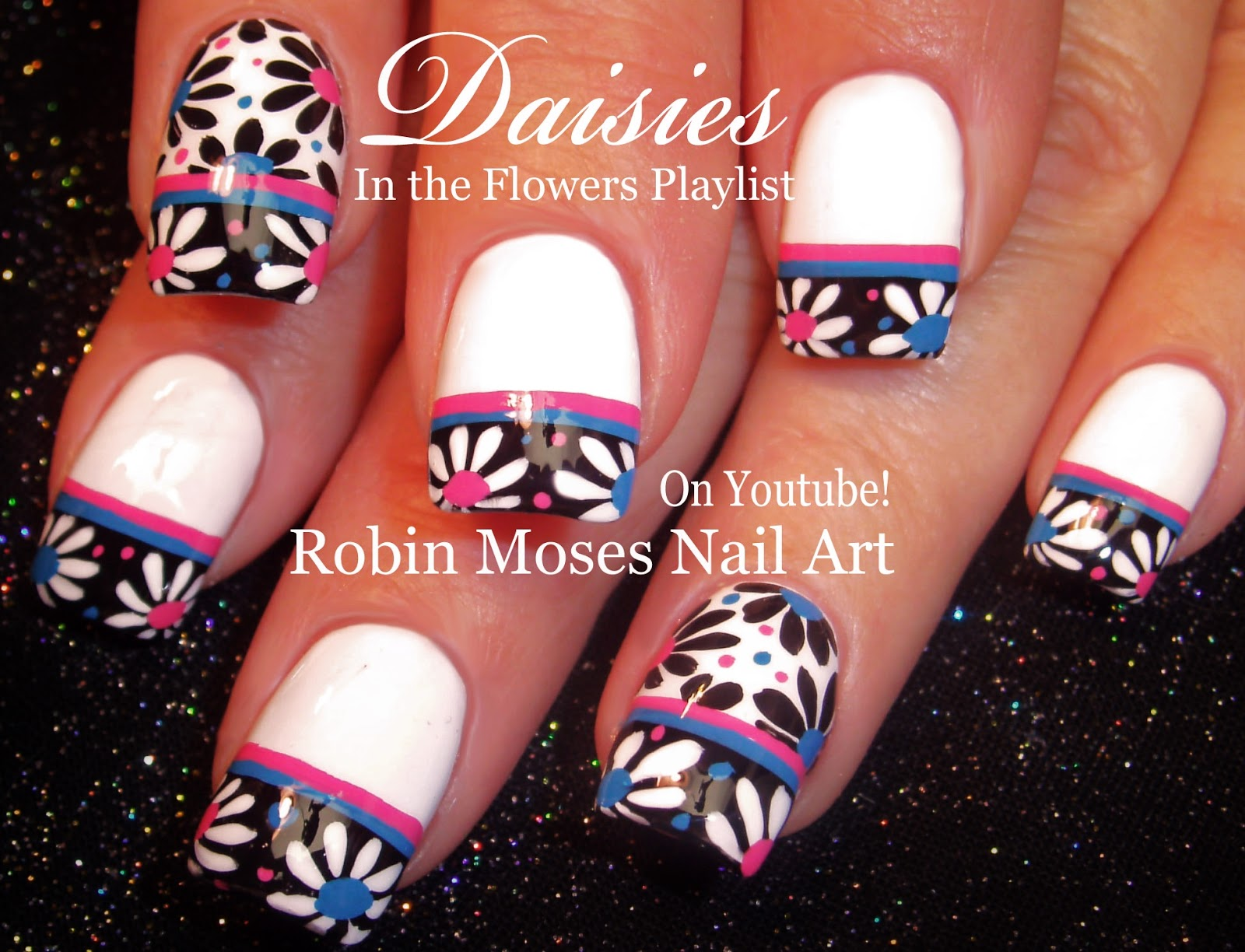 Nail Art by Robin Moses: Black and White Daisies!