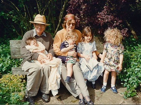 Penelope Lively, her husband and 4 grandchildren. 1995.