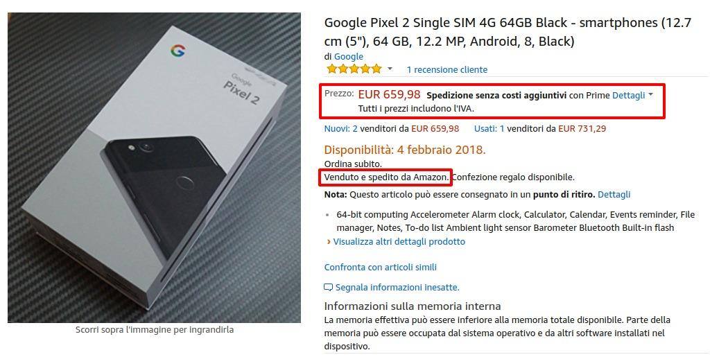 ac34f2d33 Google Pixel 2 a 659 euro venduto e spedito da Amazon Italia | IL ...