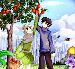 gambar kartun pasangan muslim dan muslimah memetik apel