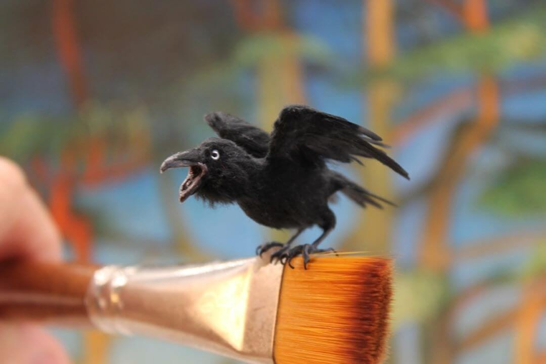06-Australian-Raven-Katie-Doka-Hand-Sculpted-Dollhouse-Miniature-Animals-www-designstack-co