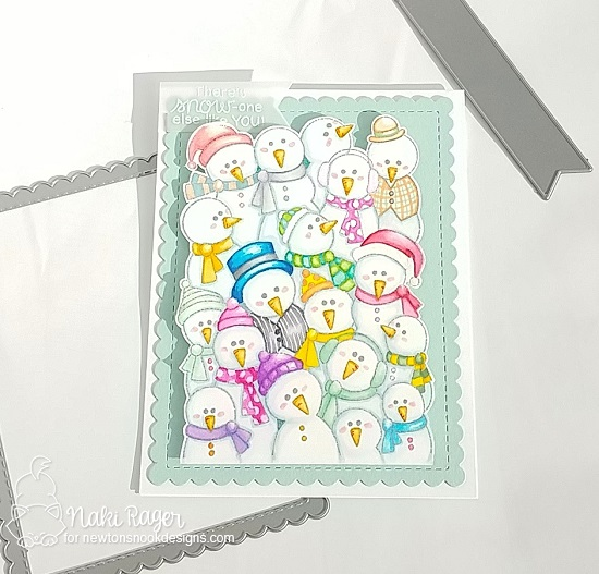 Snowman card by Naki Rager | Frozen Fellowship Stamp Set and Frames & Flags Die Set by Newton's Nook Designs #newtonsnook #handmade