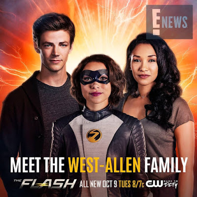 La familia Allen/West formada por Barry Allen/The Flash (Grant Gustin), a Iris West-Allen (Candice Patton) y a Nora Allen/XS (Jessica Parker Kennedy)