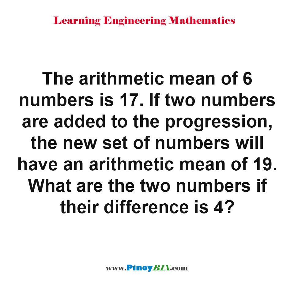 What are the two numbers if their difference is 4?