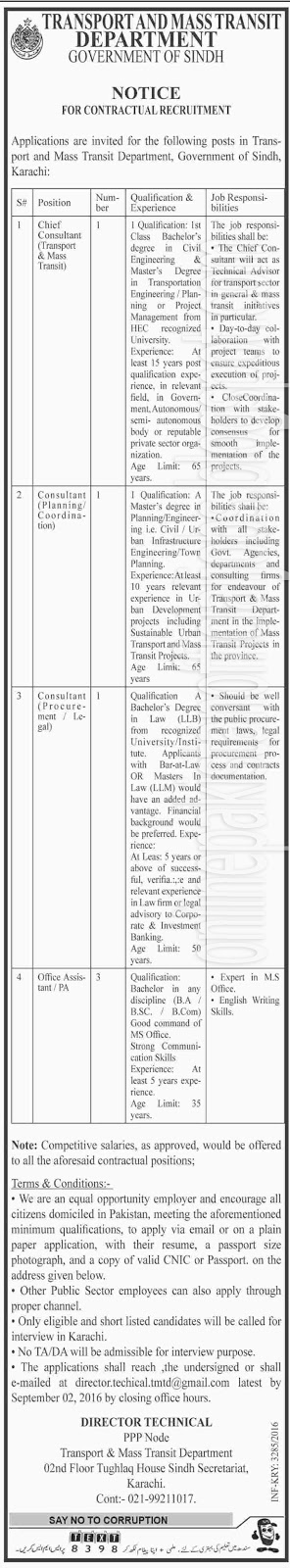 Transport & Mass Transit Department Karachi Jobs 2016