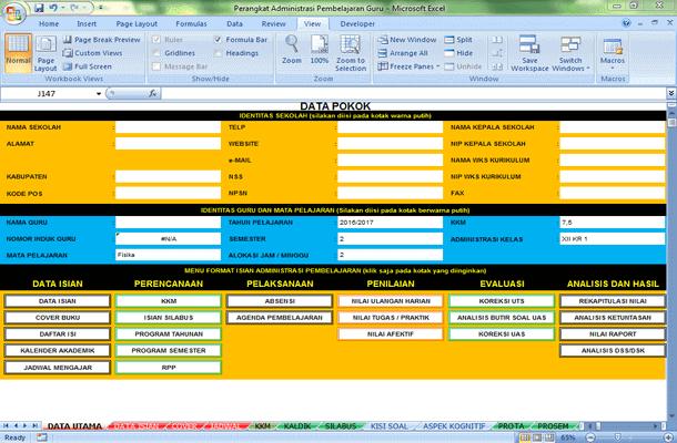 Aplikasi Perangkat Administrasi Pembelajaran Guru Format Microsoft Excel