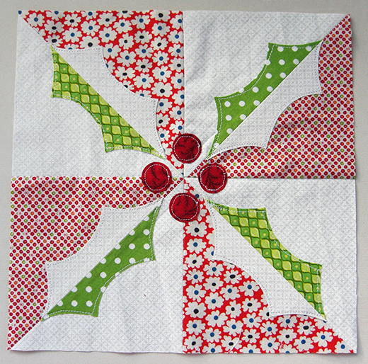 Holly Quilt Block Free Pattern designed by Brioni Greenberg of Flossy Blossy