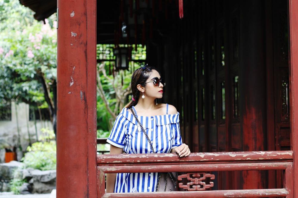 Off Shoulder Striped dress - OOTD - Buy Online dress at koovs, amazon, asos zara shanghai travel yu yuan