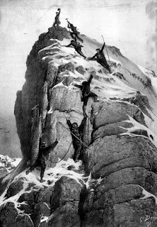 The first ascent of the Matterhorn by Gustave Doré. Wikipedia