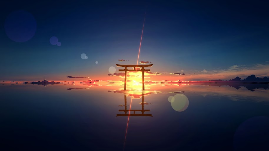 Torii Shrine Gate Scenery Sunset Horizon 4k 132 Wallpaper