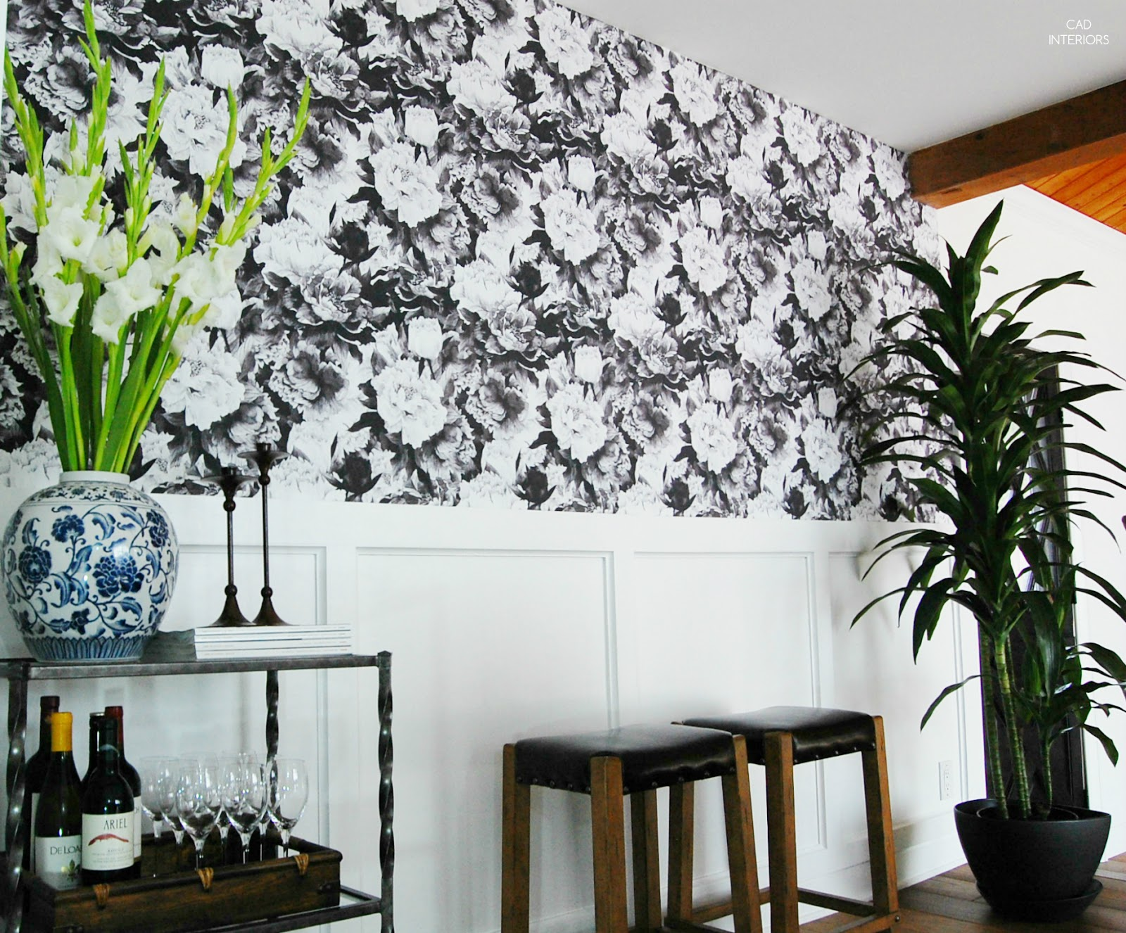 removable repositionable peel and stick black and white wallpaper walls need love diy home improvement focal wall design tips